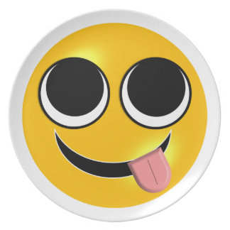 Tongue Out Emoji Party Plate