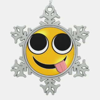 Tongue Out Emoji Snowflake Pewter Christmas Ornament