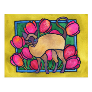 Tonkinese and Tulips Postcard