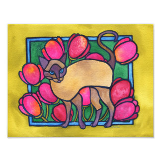 """Tonkinese and Tulips"" Print Art Photo"