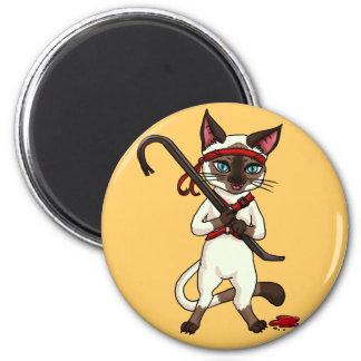 Tonkinese cat Zombie Slayer 6 Cm Round Magnet