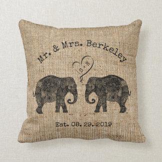 TONS OF LOVE   Elephant Couple Custom Wedding Gift Cushion