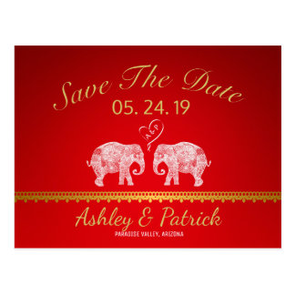TONS OF LOVE-Elephant Couple Indian Save the Date Postcard