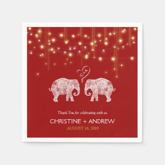 TONS OF LOVE / Elephant String Lights Custom Disposable Napkin