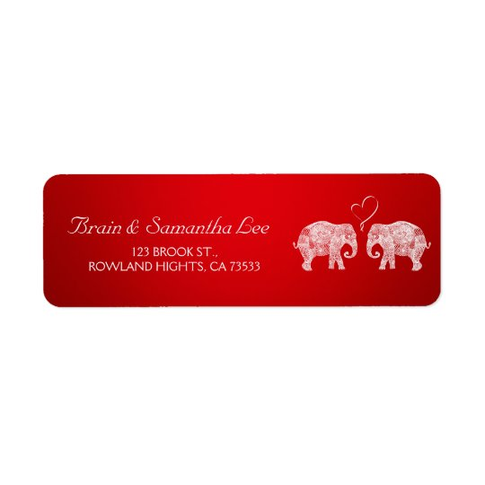 TONS OF LOVE | Elephant Wedding Custom Return Address Label