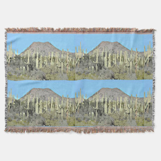 Tonto Saguaros in Cartoon Throw Blanket