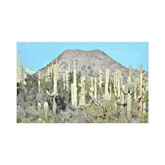 Tonto Saguaros in Cartoon Wall Canvas Canvas Print
