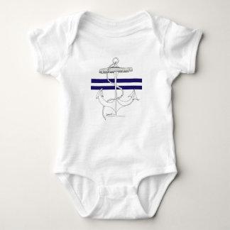Tony Fernandes 2 blue stripe anchor Baby Bodysuit