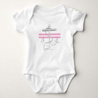 Tony Fernandes 2 pink stripe anchor Baby Bodysuit