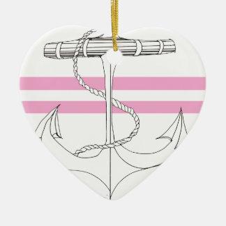 Tony Fernandes 2 pink stripe anchor Ceramic Ornament