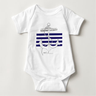 Tony Fernandes 4 blue stripe anchor Baby Bodysuit