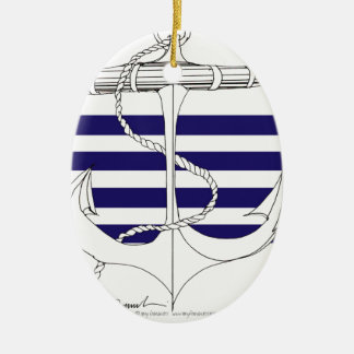 Tony Fernandes 4 blue stripe anchor Ceramic Ornament