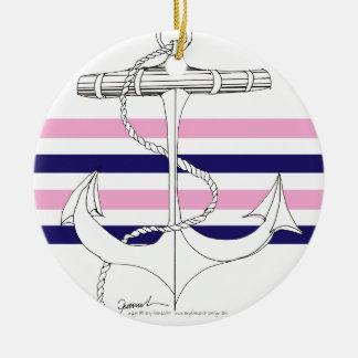Tony Fernandes 4 mix stripe anchor Ceramic Ornament