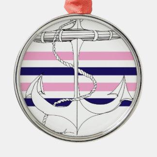 Tony Fernandes 4 mix stripe anchor Metal Ornament