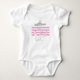 Tony Fernandes 4 pink stripe anchor Baby Bodysuit