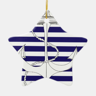 Tony Fernandes 6 blue stripe anchor Ceramic Ornament