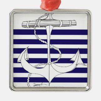 Tony Fernandes 6 blue stripe anchor Metal Ornament