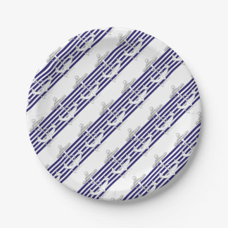 Tony Fernandes 6 blue stripe anchor Paper Plate