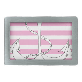 Tony Fernandes 6 pink stripe anchor Rectangular Belt Buckle