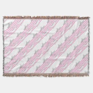 Tony Fernandes 6 pink stripe anchor Throw Blanket