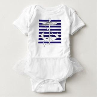 Tony Fernandes 8 blue stripe anchor Baby Bodysuit