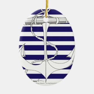 Tony Fernandes 8 blue stripe anchor Ceramic Ornament