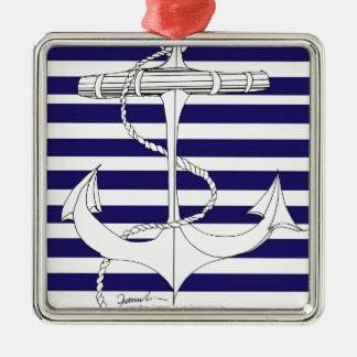 Tony Fernandes 8 blue stripe anchor Metal Ornament