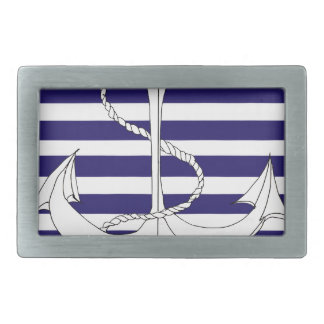 Tony Fernandes 8 blue stripe anchor Rectangular Belt Buckle