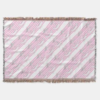 Tony Fernandes 8 pink stripe anchor Throw Blanket