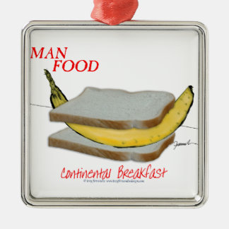 Tony Fernandes's Man Food - continental breakfast Silver-Colored Square Decoration