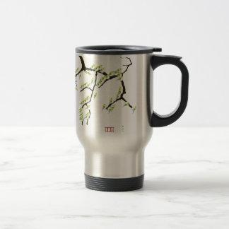 tony fernandes sakura and green birds travel mug