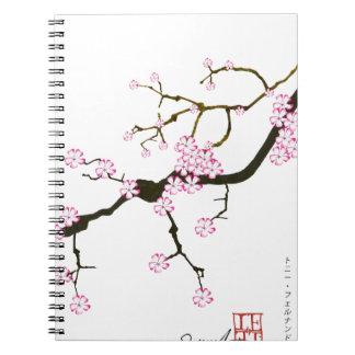 Tony Fernandes Sakura Blossom 6 Spiral Notebook