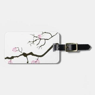 tony fernandes sakura blossom and pink bird luggage tag