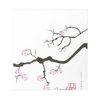 tony fernandes sakura blossom and pink bird notepad