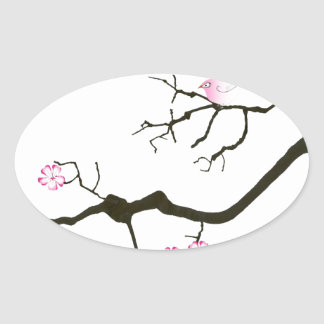 tony fernandes sakura blossom and pink bird oval sticker