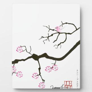 tony fernandes sakura blossom and pink bird plaque
