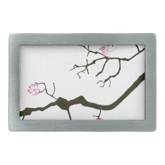 tony fernandes sakura blossom and pink bird rectangular belt buckles