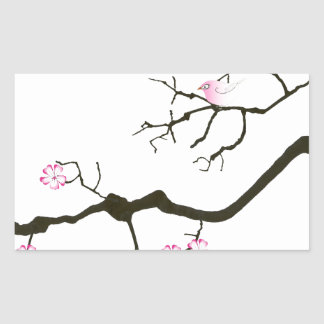 tony fernandes sakura blossom and pink bird rectangular sticker