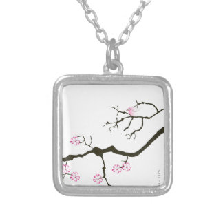 tony fernandes sakura blossom and pink bird silver plated necklace