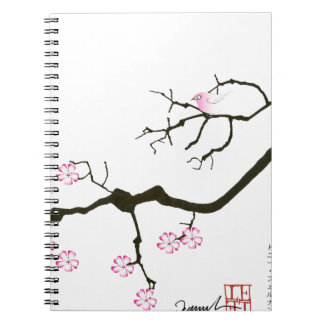 tony fernandes sakura blossom and pink bird spiral notebook