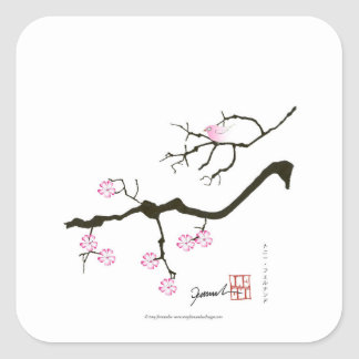 tony fernandes sakura blossom and pink bird square sticker
