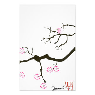 tony fernandes sakura blossom and pink bird stationery