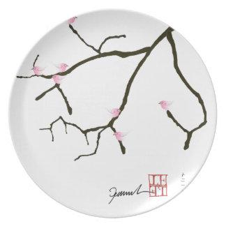 tony fernandes sakura with 7 pink birds 2 party plates