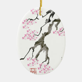tony fernandes sakura with pink goldfish ceramic ornament