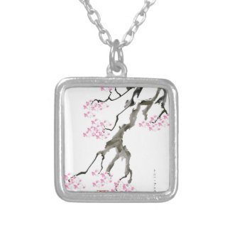 tony fernandes sakura with pink goldfish silver plated necklace