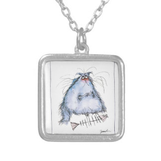 tony fernandes's 'it wasn't me' cat cartoon silver plated necklace