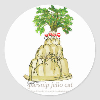 tony fernandes's parsnip jello cat classic round sticker