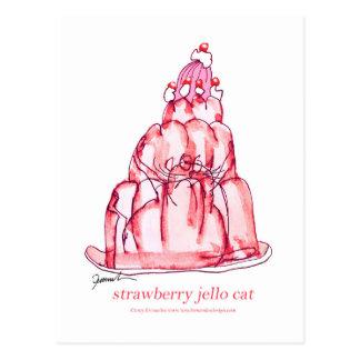 tony fernandes's strawberry jello cat postcard