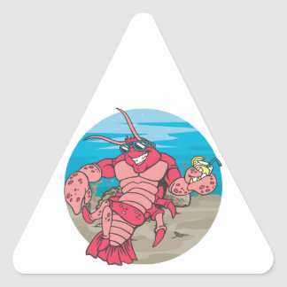 Too Cool Lobster Triangle Stickers