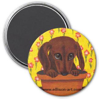 Too Cute Dachshund Puppy Magnet